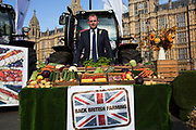 Matt Warman at the National Farmers Union NFU took machinery, produce, farmers and staff to Westminster to encourage Members of Parliament to back British farming, post Brexit on 14th September 2016 in London, United Kingdom. MPs were encouraged to sign the NFU's pledge and wear a British wheat and wool pin badge to show their support.