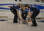 """Glasgow. SCOTLAND. Scotland's, Lauren GRAY, releasing the """"Stone"""" during the  Le Gruyère European Curling Championships. round robin match between Scotland vs Sweden at the  2016 Venue, Braehead  Scotland<br /> Sunday  20/11/2016<br /> <br /> [Mandatory Credit; Peter Spurrier/Intersport-images]"""