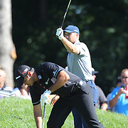 Jordan Spieth, USA and Jason Day, Australia, in action during The Barclays Golf Tournament at The Plainfield Country Club, Edison, New Jersey, USA. 27th August 2015. Photo Tim Clayton
