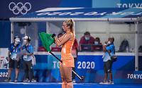 TOKIO - warming up  Sanne Koolen (NED) , die haar 50ste interland speelde,  voor de wedstrijd dames , Nederland-India (5-1) tijdens de Olympische Spelen   .  COPYRIGHT KOEN SUYK