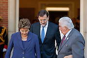 Mariano Rajoy and Dilma Rousseff exit meeting at Moncloa