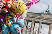 A view of colorful Helium Balloons in front of the Brandenburg Gate in Berlin, Germany, October 02, 2016.