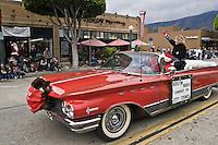 Kristin Parisi City Council Candidate Waving to Crowd, Glendora Christmas Parade, California