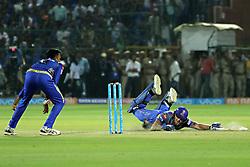 April 22, 2018 - Jaipur, Rajasthan, India - Rajasthan Royals batsman Ben Stokes run during the IPL T20 match against  Mumbai Indians  at Sawai Mansingh Stadium in Jaipur on 22 April,2018.(Photo By Vishal Bhatnagar/NurPhoto) (Credit Image: © Vishal Bhatnagar/NurPhoto via ZUMA Press)