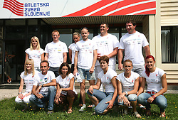 Athletes: (1st line) Pia Tajnikar, Roman Kejzar, Marija Sestak, Martina Ratej, Sonja Roman and Nina Kolaric; (2nd line) Sabina Veit, Matic Osovnikar, Snezana Rodic, Bostjan Buc, Miro Vodovnik, Primoz Kozmus at press conference of Slovenian National Team before Athletics World Championships in Berlin,  on August 10, 2009, in Ljubljana, Slovenia. (Photo by Vid Ponikvar / Sportida)