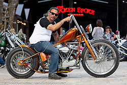 Ray Llanes on his Warren Lane built custom Panhead at Warren Lane's True Grit Antique Gathering bike show at the Broken Spoke Saloon in Ormond Beach during Daytona Beach Bike Week, FL. USA. Sunday, March 10, 2019. Photography ©2019 Michael Lichter.