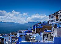 CHEFCHAOUEN, MOROCCO - CIRCA MAY 2018: View of Chefchaouen and the Rif mountains.