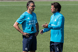 (L-R) coordinator fysic training PSV Luc van Agt, head of the youth department Ernest Faber of PSV during a trainings session of PSV Eindhoven at the Herdgang on June 27, 2018 in Eindhoven, The Netherlands