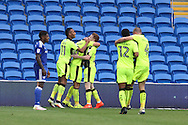 Yann Kermorgant of Reading © celebrates with his teammates after he scores his teams 1st goal. EFL Skybet championship match, Cardiff city v Reading at the Cardiff city stadium in Cardiff, South Wales on Saturday 27th August 2016.<br /> pic by Andrew Orchard, Andrew Orchard sports photography.