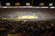 December 29 2010: A sold-out crowd watches the action during the first half of an NCAA college basketball game at Carver-Hawkeye Arena in Iowa City, Iowa on December 29, 2010. Illinois defeated Iowa 87-77.