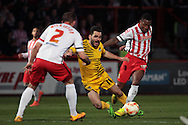 Bristol Rovers No 11 Jake Gosling is fouled in the Sky Bet League 2 match between Stevenage and Bristol Rovers at the Lamex Stadium, Stevenage, England on 19 April 2016. Photo by Nigel Cole.