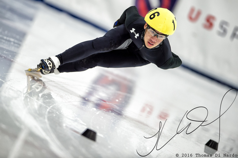 March 19, 2016 - Verona, WI - Matthew Chen, skater number 176 competes in US Speedskating Short Track Age Group Nationals and AmCup Final held at the Verona Ice Arena.