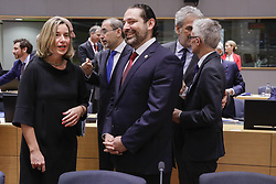 April 25, 2018 - Brussels, BELGIUM - EU foreign policy chief Federica Mogherini and Saad Al-Hariri, Prime Minister of Lebanon pictured during a conference 'Supporting the future of Syria and the region', organised by the European Union and the United Nations, at the EU headquarters in Brussels, Wednesday 25 April 2018. BELGA PHOTO THIERRY ROGE (Credit Image: © Thierry Roge/Belga via ZUMA Press)