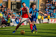 Fleetwood Town defender James Husband  (26) and Gillingham FC midfielder Mark Byrne (33) during the EFL Sky Bet League 1 match between Gillingham and Fleetwood Town at the MEMS Priestfield Stadium, Gillingham, England on 3 November 2018.<br /> Photo Martin Cole