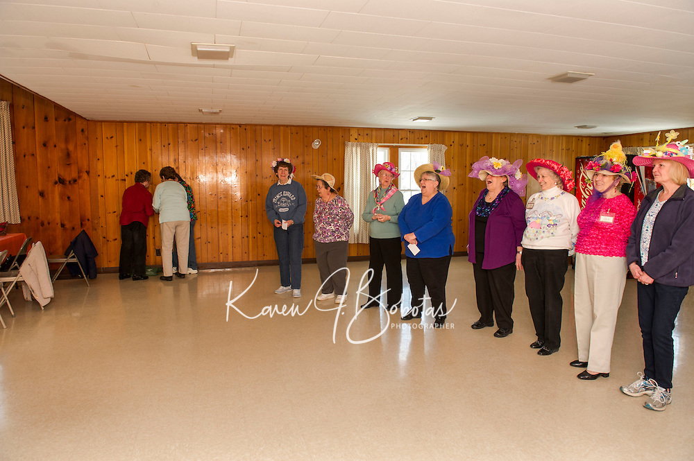 Easter Bonnet parade with Laconia Elders Friendship Club at the Leavitt Park Clubhouse.  Karen Bobotas for the Laconia Daily Sun