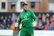 York city goalkeeper Scott Flinders looks on. Skybet football league two match, Newport county v York city at Rodney Parade in Newport, South Wales on Saturday 5th Sept 2015.  pic by Andrew Orchard, Andrew Orchard sports photography.