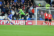 Cardiff city's keeper David Marshall saves from David McGoldrick of Ipswich (16 left).  NPower championship, Cardiff city v Ipswich Town at the Cardiff city Stadium in Cardiff, South Wales on Saturday 12th Jan 2013. pic by Andrew Orchard, Andrew Orchard sports photography,