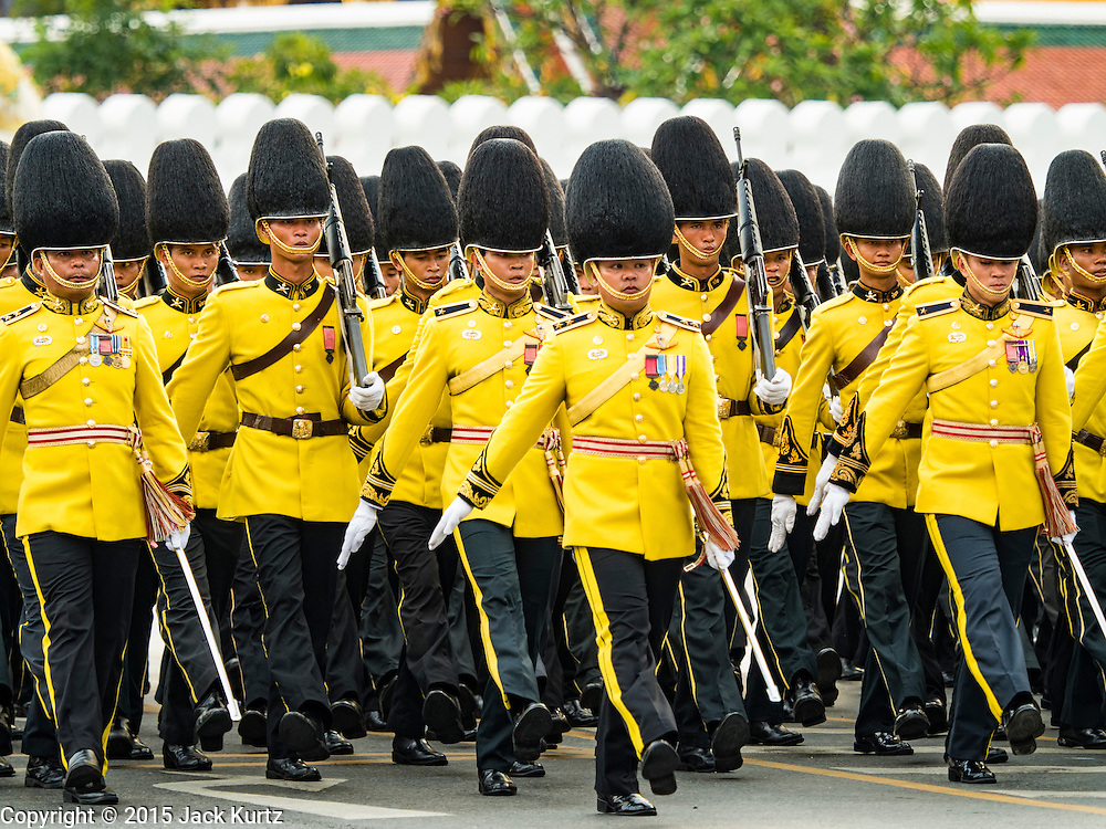 03 DECEMBER 2015 - BANGKOK, THAILAND: Thai military units march in the annual Trooping of the Colors parade to Sanam Luang in Bangkok. The Thai Royal Guards Parade, also known as Trooping of the Colors, occurs every December before the celebration of the birthday of Bhumibol Adulyadej, the King of Thailand. The Royal Guards of the Royal Thai Armed Forces perform a military parade and pledge loyalty to the monarch. Historically, the venue has been the Royal Plaza in front of the Dusit Palace and the Ananta Samakhom Throne Hall. This year it was held on Sanam Luang in front of the Grand Palace.    PHOTO BY JACK KURTZ