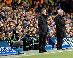 23.11.2010, Stamford Bridge, London, ENG, UEFA CL, Chelsea FC vs MSK Zilina, im Bild Chelsea Manager, Carlo Ancelotti & MSK Zalina Manager Pavel Hapel look out from the technical area, UEFA Champions League Group Stage, Chelsea v MSK Zalina, 23/11/2010. EXPA Pictures © 2010, PhotoCredit: EXPA/ IPS/ Mark Greenwood +++++ ATTENTION - OUT OF ENGLAND/UK and FRANCE/FR +++++