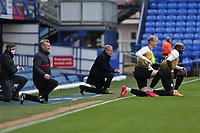 Football - 2020 / 2021 Sky Bet League One - Portsmouth vs. Crewe Alexandra - Fratton Park<br /> <br /> Portsmouth Manager Kenny Jackett and Crewe Alexandra Manager David Artell take a knee before kickoff at Fratton Park <br /> <br /> COLORSPORT/SHAUN BOGGUST