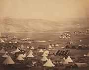 Crimean War 1853-1856: British cavalry camp, looking towards Kadikoi, 1855. Photograph by Rogern Fenton (1819-1869) American war photographer. Tent Canvas Russia France Turkey Britain Ottoman