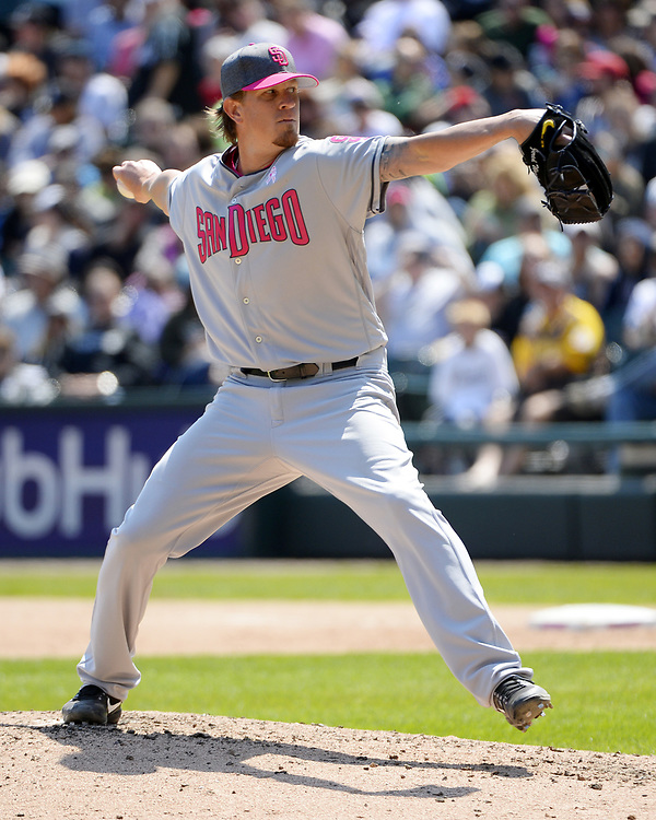 CHICAGO - MAY 14:  Jered Weaver #27 of the San Diego Padres pitches against the Chicago White Sox on May 14, 2017 at Guaranteed Rate Field in Chicago, Illinois.  The White Sox defeated the Padres 9-3 .  (Photo by Ron Vesely)  Subject: Jered Weaver