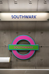 © Licensed to London News Pictures. 18/06/2016. London, UK. The roundels at Southwark tube station have received a special makeover to coincide with the opening of the new Tate Modern this weekend.  The new roundels, which will be displayed until Sunday, have been specially commissioned by the Tate Modern and designed by artist Sir Michael Craig-Martin.  This is the first time that the traditional colours have been changed since the sign was introduced in 1908.   Photo credit : Stephen Chung/LNP