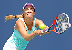 March 24, 2019 - Miami, FL, USA - Danielle Collins returns a ball hit by Yafan Wang on Sunday, March, 24, 2019 at the Miami Open in Miami Gardens, Fla. (Credit Image: © Charles Trainor Jr/Miami Herald/TNS via ZUMA Wire)