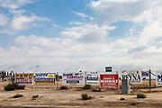Political canpaign signs for Hispanic-american candidates in Delano, Kern County, San Joaquin Valley, California, USA
