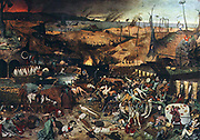 The Triumph of Death is an oil on panel, approximately 117 by 162 centimeters (46 x 63.8 in), painted c. 1562 by Pieter Bruegel the Elder. It currently hangs in the Museo del Prado, Madrid. The painting is a panoramic landscape of death: the sky in the distance is blackened by smoke from burning cities and the sea is littered with shipwrecks. Armies of skeletons advance on the hapless living, who either flee in terror or try vainly to fight back. Skeletons kill people in a variety of ways - slitting throats, hanging, drowning, and even hunting with skeletal dogs. In the foreground, skeletons haul a wagon full of skulls, and ring the bell that signifies the death knell of the world