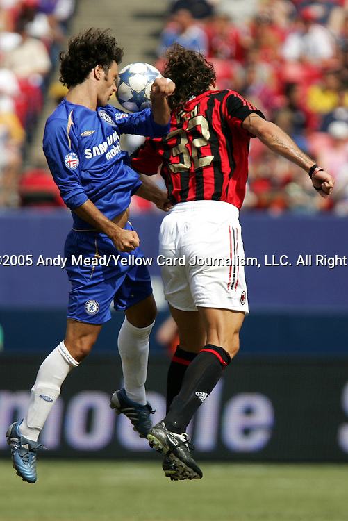 31 July 2005: Ricardo Carvalho (l) and Christian Vieri (32) challenge for a header. Chelsea FC of England and AC Milan of Spain tied 1-1 at Giants Stadium in East Rutherford, New Jersey in an international friendly soccer match as part of AEG's 2005 World Series of Football. .