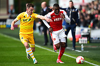 Fleetwood Town's Amari'i Bell is challenged by Millwall's Jed Wallace<br /> <br /> Photographer Richard Martin-Roberts/CameraSport<br /> <br /> The EFL Sky Bet League One - Fleetwood Town v Millwall - Monday 17th April 2017 - Highbury Stadium - Fleetwood<br /> <br /> World Copyright © 2017 CameraSport. All rights reserved. 43 Linden Ave. Countesthorpe. Leicester. England. LE8 5PG - Tel: +44 (0) 116 277 4147 - admin@camerasport.com - www.camerasport.com