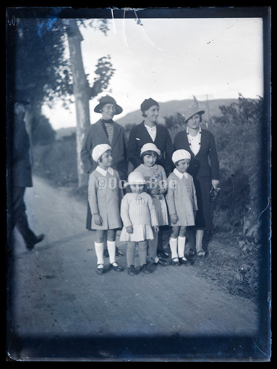 road trip group portrait  France ca 1920s