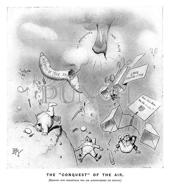 """The """"Conquest """" of the air. (Shewing how grcefully the air acknowledges its defeat."""" (an Edwardian cartoon shows the major powers' failures of flight as their warplanes blow up or crash)"""