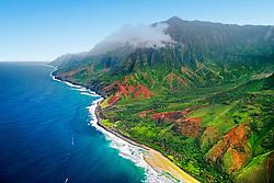 Kalalau Valley and Kalalau Beach, the end of the 11 mile trail, Na Pali coast, Kauai, Hawaii, Pacific Ocean