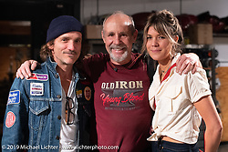Michael Lichter with custom bike builder Jeremy Hutch of Hutchbilt and his girlfriend Rachel Maroudas at the Revival Cycles Handbuilt Show after-party at the shop. Austin, TX. USA. Sunday April 22, 2018. Photography ©2018 Michael Lichter.Revival Cycles Handbuilt Show after-party at the shop. Austin, TX. USA. Sunday April 22, 2018. Photography ©2018 Michael Lichter.