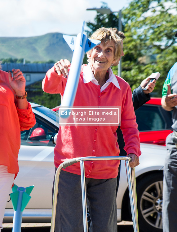 Pictured: Katherine Robins get stuck into the jaelin throwing<br /> <br /> First-ever care home games tournament took place over two days at Edinburgh's Inchview Care home. More than 90 athletes from other care homes gathered to  compete in events including javelin, curling and dancing. <br /> <br /> <br /> <br /> Ger Harley | EEm 27 July 2016