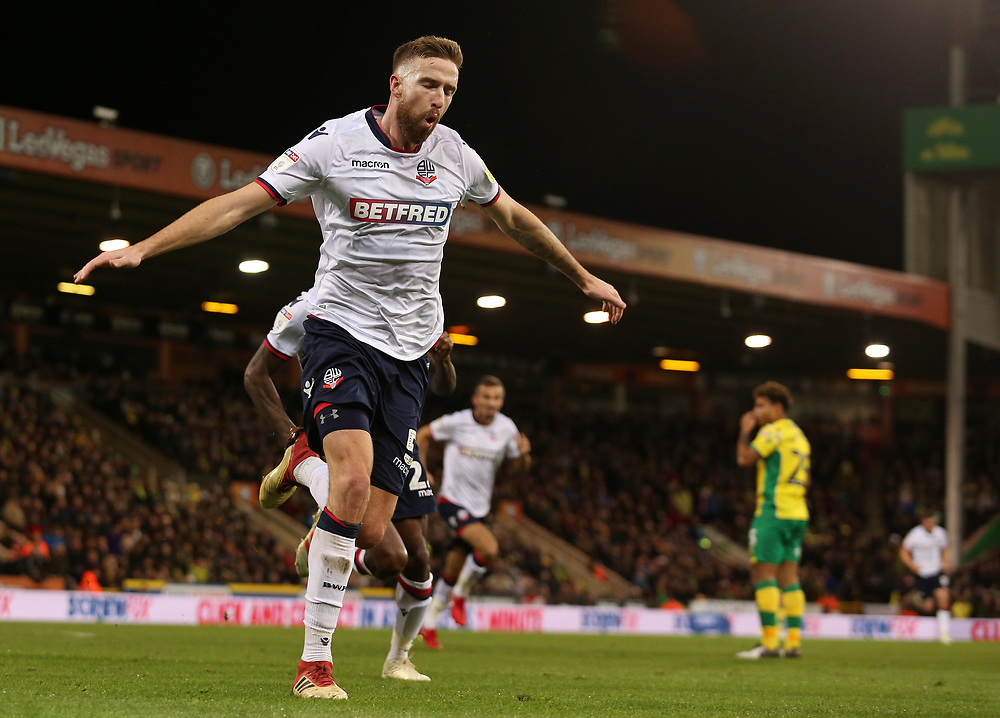 Bolton Wanderers' Mark Beevers celebrates scoring his side's equalising goal to make the score 2-2<br /> <br /> Photographer David Shipman/CameraSport<br /> <br /> The EFL Sky Bet Championship - Norwich City v Bolton Wanderers - Saturday 8th December 2018 - Carrow Road - Norwich<br /> <br /> World Copyright © 2018 CameraSport. All rights reserved. 43 Linden Ave. Countesthorpe. Leicester. England. LE8 5PG - Tel: +44 (0) 116 277 4147 - admin@camerasport.com - www.camerasport.com