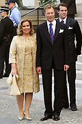 Marriage Civil wedding of Grand Duke Guillaume and Princess Stephanie at Hotel de Ville in Luxembourg.<br /> <br /> On the photo: Grand Duke Henri and Grand Duchess Maria Teresa