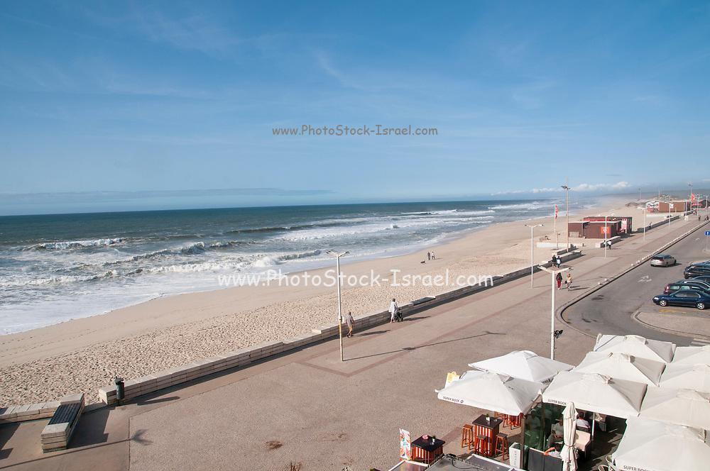 The promenade along the ocean at Furadouro beach, Ovar, a small municipality on the Atlantic ocean coast, Portugal