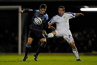 Paul Telfer (Leeds) gets his foot in ahead of Alex Revell (Southend United). Southend United Vs Leeds United.Coca Cola League 1. Roots Hall. Southend. 28/10/08 Credit Colorsport/Garry Bowden