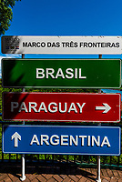 Triple Borders Landmark (Marco das Tres Fronteiras), where the borders of Brazil, Argentina and Paraguay meet at the confluence of the Iguazu and Parana Rivers.