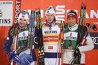 Kombinert<br /> FIS World Cup<br /> Ruka / Kuusamo Finland<br /> November 2017<br /> Foto: Gepa/Digitalsport<br /> NORWAY ONLY<br /> <br /> KUUSAMO,FINLAND,24.NOV.17 - NORDIC SKIING, NORDIC COMBINED, CROSS COUNTRY SKIING - FIS World Cup, Ruka Nordic Opening, 5km Gundersen, award ceremony. Image shows Jan Schmid (NOR), Espen Andersen (NOR) and Akito Watabe (JPN). Photo: GEPA pictures/ Mathias Mandl