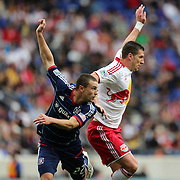 Austin Berry, Chicago Fire, (left) and Kenny Cooper, New York Red Bulls, in action during the New York Red Bulls V Chicago Fire Major League Soccer regular season match at Red Bull Arena, Harrison. New Jersey. USA. 6th October 2012. Photo Tim Clayton