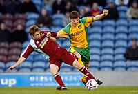Photo: Paul Greenwood.<br />Burnley v Norwich City. Coca Cola Championship. 17/04/2007.<br /> Norwich's Chris Martin, (R) looses out to James O'Connor