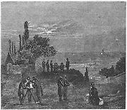 In 1822 the French appointed commission to finding the speed of sound in air. Two hills near Paris chosen for the experiment at Villejuif and Montlhery. On each hill a gun was discharged. Observers on the other hill, by noting the time of flash and time at which they heard report, calculated the speed to be 1,118.152 feet (340.8m) per second. Gay-Lussac, Humboldt and Bouvard at Montlhery; Arago, Mathieu and Prony were at Villejuif. From Amedee Guillemin 'The Forces of Nature', London, 1873. Engraving