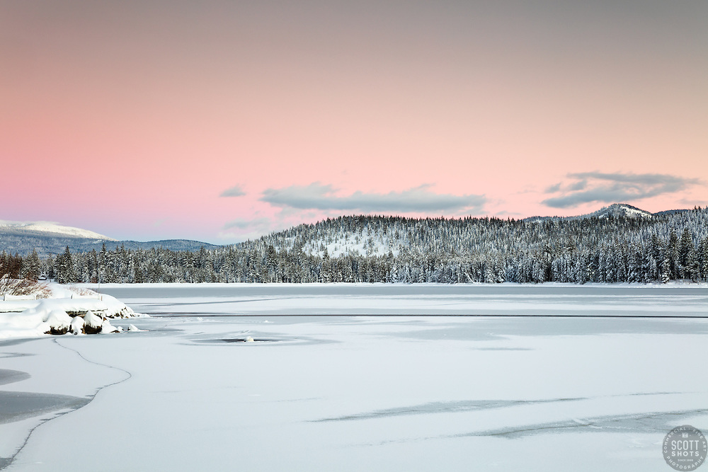 """""""Donner Lake Sunset 38"""" - Photograph taken at sunset of a mostly iced over Donner Lake in Truckee, California."""