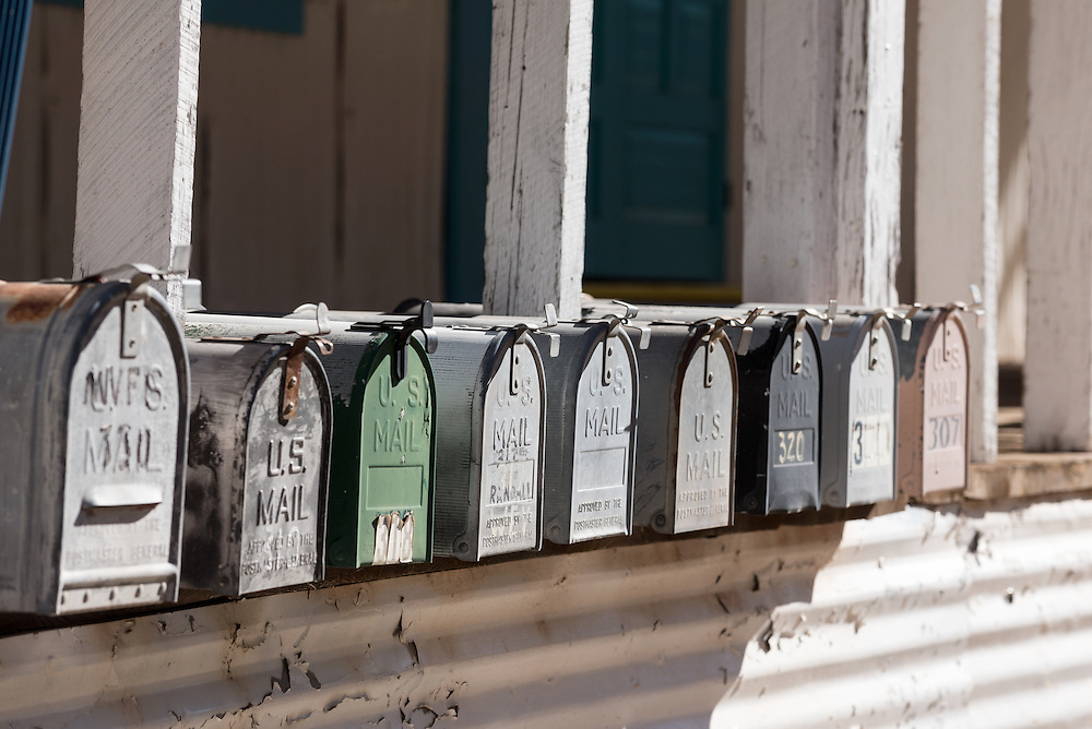 Row of mail boxes in Mogollon, New Mexico.
