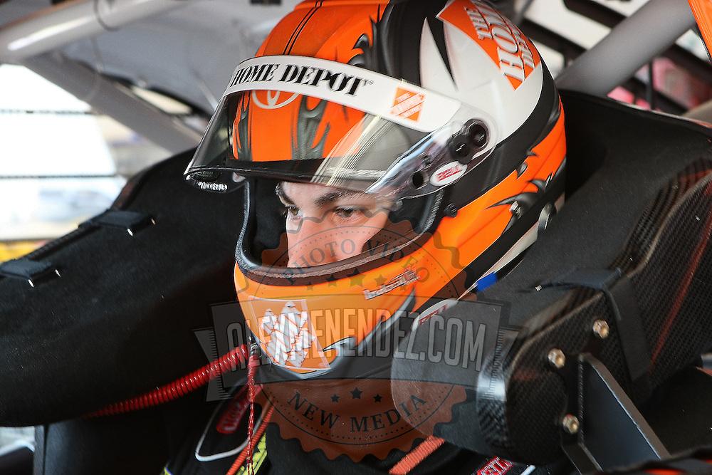 Sprint Cup Series driver Joey Logano (20) prepares for practice at Daytona International Speedway on February 18, 2011 in Daytona Beach, Florida. (AP Photo/Alex Menendez)