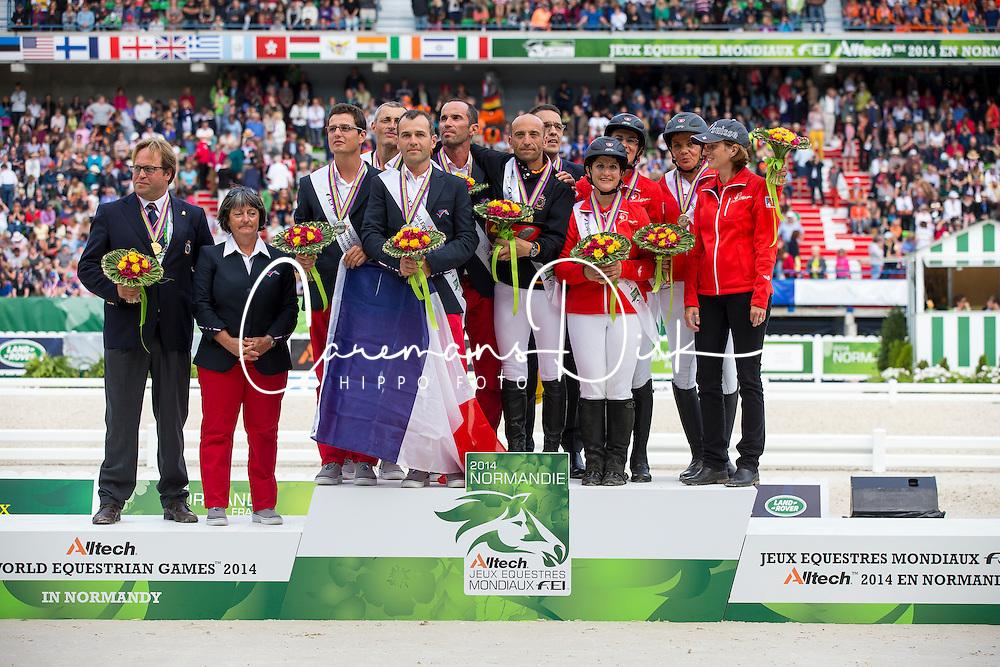 Podium Team Test 1. Spain, 2. France, 3. Switzerland - Endurance - Alltech FEI World Equestrian Games™ 2014 - Normandy, France.<br /> © Hippo Foto Team - Dirk Caremans<br /> 29/08/14